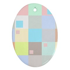 Pastel Diamonds Background Oval Ornament (two Sides)