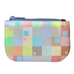 Pastel Diamonds Background Large Coin Purse