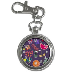 Background Decorative Floral Key Chain Watches by Sapixe