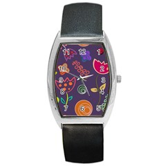 Background Decorative Floral Barrel Style Metal Watch