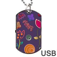 Background Decorative Floral Dog Tag Usb Flash (one Side)