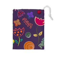 Background Decorative Floral Drawstring Pouch (large) by Sapixe