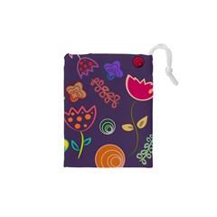 Background Decorative Floral Drawstring Pouch (xs) by Sapixe