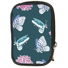 Butterfly Pattern Dead Death Rose Compact Camera Leather Case by Sapixe
