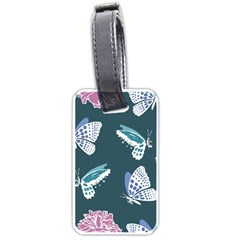 Butterfly Pattern Dead Death Rose Luggage Tags (one Side)  by Sapixe