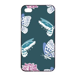 Butterfly Pattern Dead Death Rose Apple Iphone 4/4s Seamless Case (black) by Sapixe