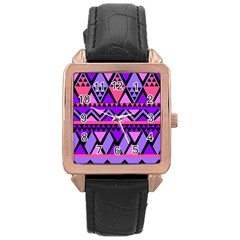 Seamless Purple Pink Pattern Rose Gold Leather Watch