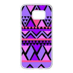 Seamless Purple Pink Pattern Samsung Galaxy S7 Edge White Seamless Case by Sapixe