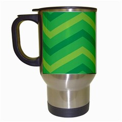 Green Background Abstract Travel Mugs (white)