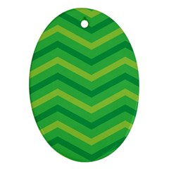 Green Background Abstract Oval Ornament (two Sides)