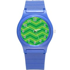 Green Background Abstract Round Plastic Sport Watch (s) by Sapixe
