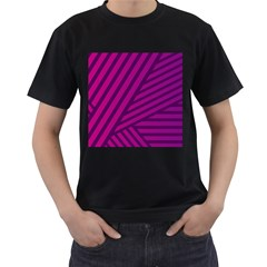 Pattern Lines Stripes Texture Men s T Shirt (black) (two Sided)