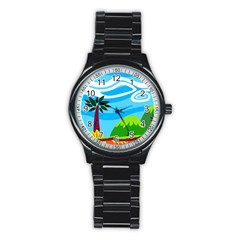 Landscape Background Nature Sky Stainless Steel Round Watch