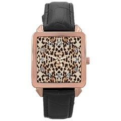 Pattern Leopard Skin Background Rose Gold Leather Watch
