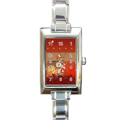 Abstract Background Flower Design Rectangle Italian Charm Watch