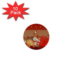 Abstract Background Flower Design 1  Mini Buttons (10 Pack)