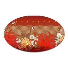 Abstract Background Flower Design Oval Magnet
