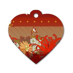 Abstract Background Flower Design Dog Tag Heart (two Sides) by Sapixe