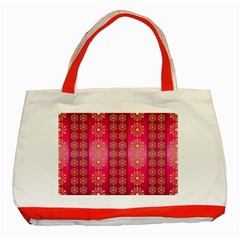 Background Pattern Pink Wallpaper Classic Tote Bag (red)