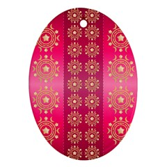 Background Pattern Pink Wallpaper Oval Ornament (two Sides) by Sapixe