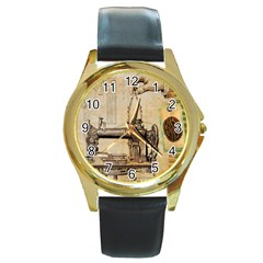 Sewing 1123718 1920 Round Gold Metal Watch by vintage2030