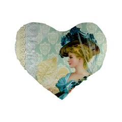 Lady 1112776 1920 Standard 16  Premium Flano Heart Shape Cushions by vintage2030