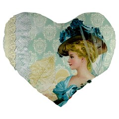 Lady 1112776 1920 Large 19  Premium Flano Heart Shape Cushions by vintage2030