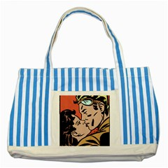 Retrocouplekissing Striped Blue Tote Bag by vintage2030