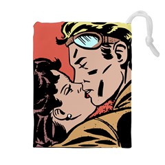Retrocouplekissing Drawstring Pouch (xl) by vintage2030