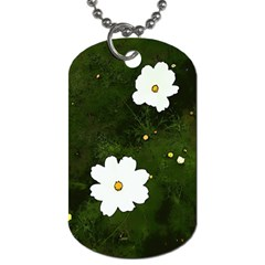 Daisies In Green Dog Tag (one Side) by DeneWestUK