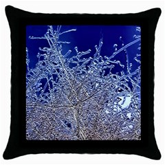 Crystalline Branches Throw Pillow Case (black)