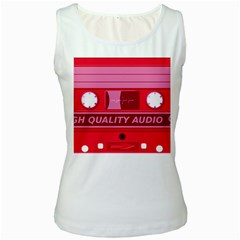 Red Cassette Women s White Tank Top