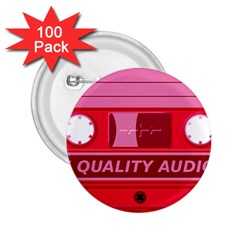 Red Cassette 2 25  Buttons (100 Pack)