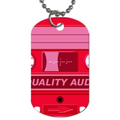 Red Cassette Dog Tag (one Side) by vintage2030