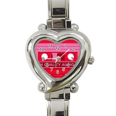 Red Cassette Heart Italian Charm Watch by vintage2030