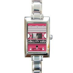 Pink Cassette Rectangle Italian Charm Watch by vintage2030