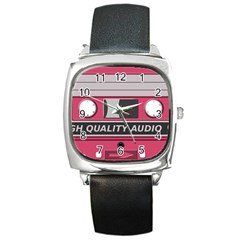 Pink Cassette Square Metal Watch