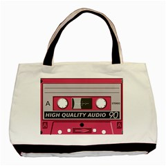 Pink Cassette Basic Tote Bag (two Sides) by vintage2030
