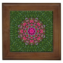 Fantasy Floral Wreath In The Green Summer  Leaves Framed Tiles by pepitasart