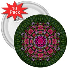 Fantasy Floral Wreath In The Green Summer  Leaves 3  Buttons (10 Pack)  by pepitasart