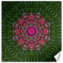Fantasy Floral Wreath In The Green Summer  Leaves Canvas 12  X 12  by pepitasart