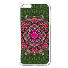 Fantasy Floral Wreath In The Green Summer  Leaves Apple Iphone 6 Plus/6s Plus Enamel White Case by pepitasart