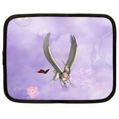 Cute Little Pegasus With Butterflies Netbook Case (xxl) by FantasyWorld7