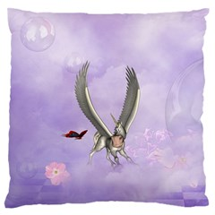 Cute Little Pegasus With Butterflies Large Flano Cushion Case (one Side) by FantasyWorld7
