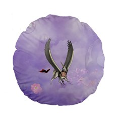Cute Little Pegasus With Butterflies Standard 15  Premium Flano Round Cushions by FantasyWorld7