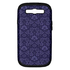 Damask Purple Samsung Galaxy S Iii Hardshell Case (pc+silicone) by vintage2030