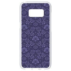 Damask Purple Samsung Galaxy S8 White Seamless Case by vintage2030