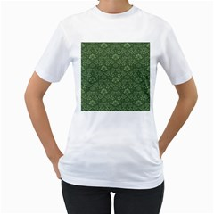 Damask Green Women s T Shirt (white) (two Sided) by vintage2030