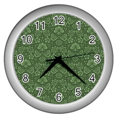 Damask Green Wall Clock (silver) by vintage2030