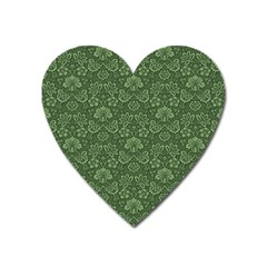 Damask Green Heart Magnet by vintage2030